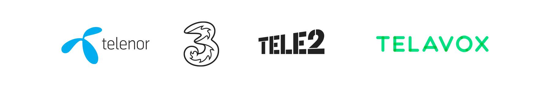 Vi erbjuder operatörerna Telenor, Tre, Tele2 och Telavox.