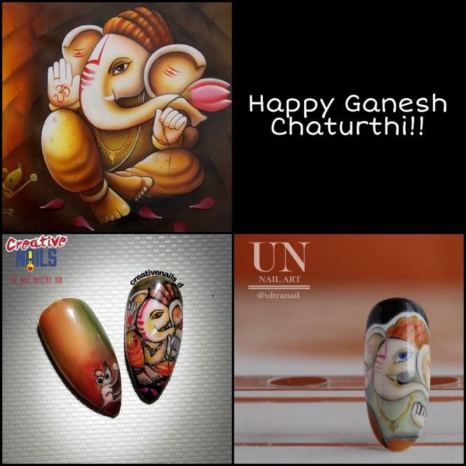 Ganesh Chaturthi Nail Art - 2019
