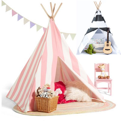 Patterned-and-Stripe-Teepee-Tents