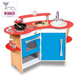 Blue Wooden Play Kitchen go kids play | parent's top rated: kids play kitchen sets for