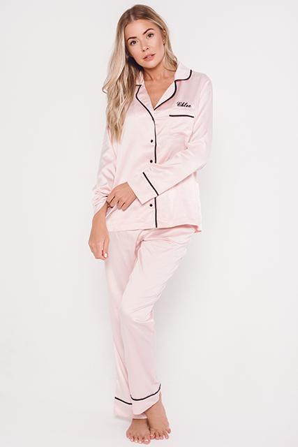 Satin pajamas pink