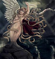 Картинки Ангелы Крылья Волосы Голая Девушки