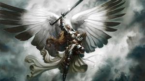 Превью обои ангел, крылья, меч, полет, небо, арт