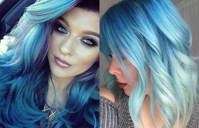 У кого синие волосы