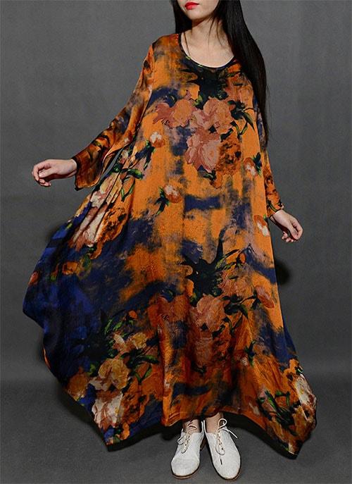 просторное платье с ярким принтом бохо для полных женщин после 50