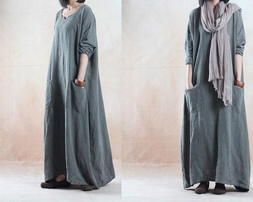 широкое длинное платье с накладными карманами для полных женщин после 50