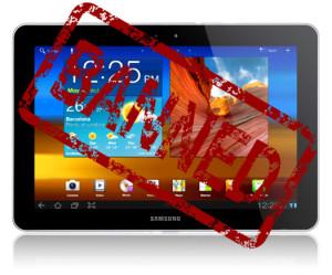 Samsung galaxy tab 10.1 banned