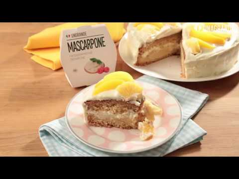 Торт с персиками и кремом чиз