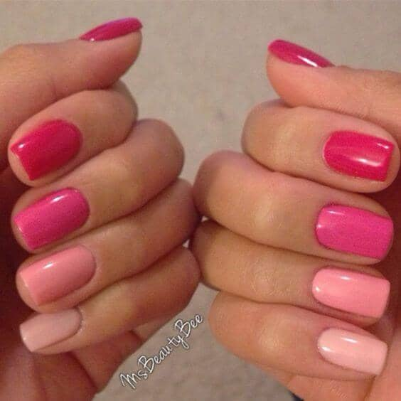 Nails painted pink