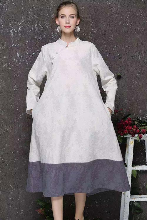 просторное двухцветное платье для полных женщин после 50