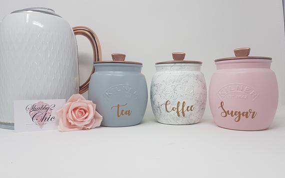 Pink ceramic storage jars
