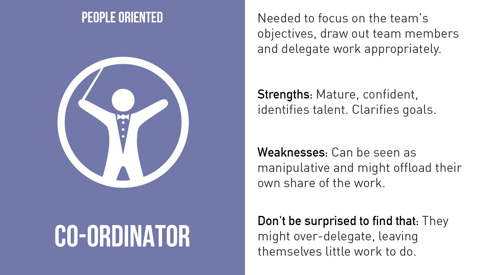 Coordinators are the ones who take on the traditional team-leader role and have also been referred to as the chairmen. They guide the team to what they perceive are the objectives. They are often excellent listeners and they are naturally able to recognize the value that each team member brings to the table. They are calm and good-natured, and delegate tasks very effectively. Their potential weaknesses are that they may delegate away too much personal responsibility, and may tend to be manipulative.