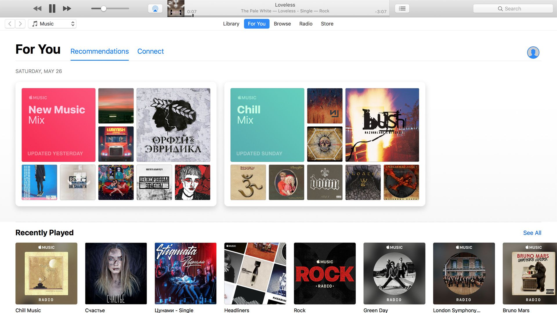 "The interface of the Apple Music on MacOS. A lot of space is not used efficiently in the ""Recommendations"" section. And look how small are font sizes!"