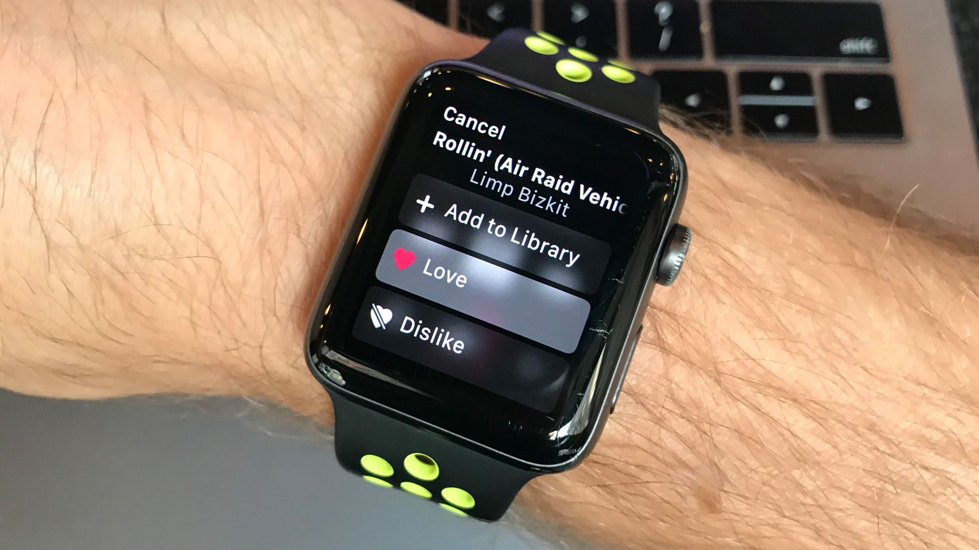 "It's so easy to ""like"" a song when using Apple Music, just ask Siri or tap it on your wrist."