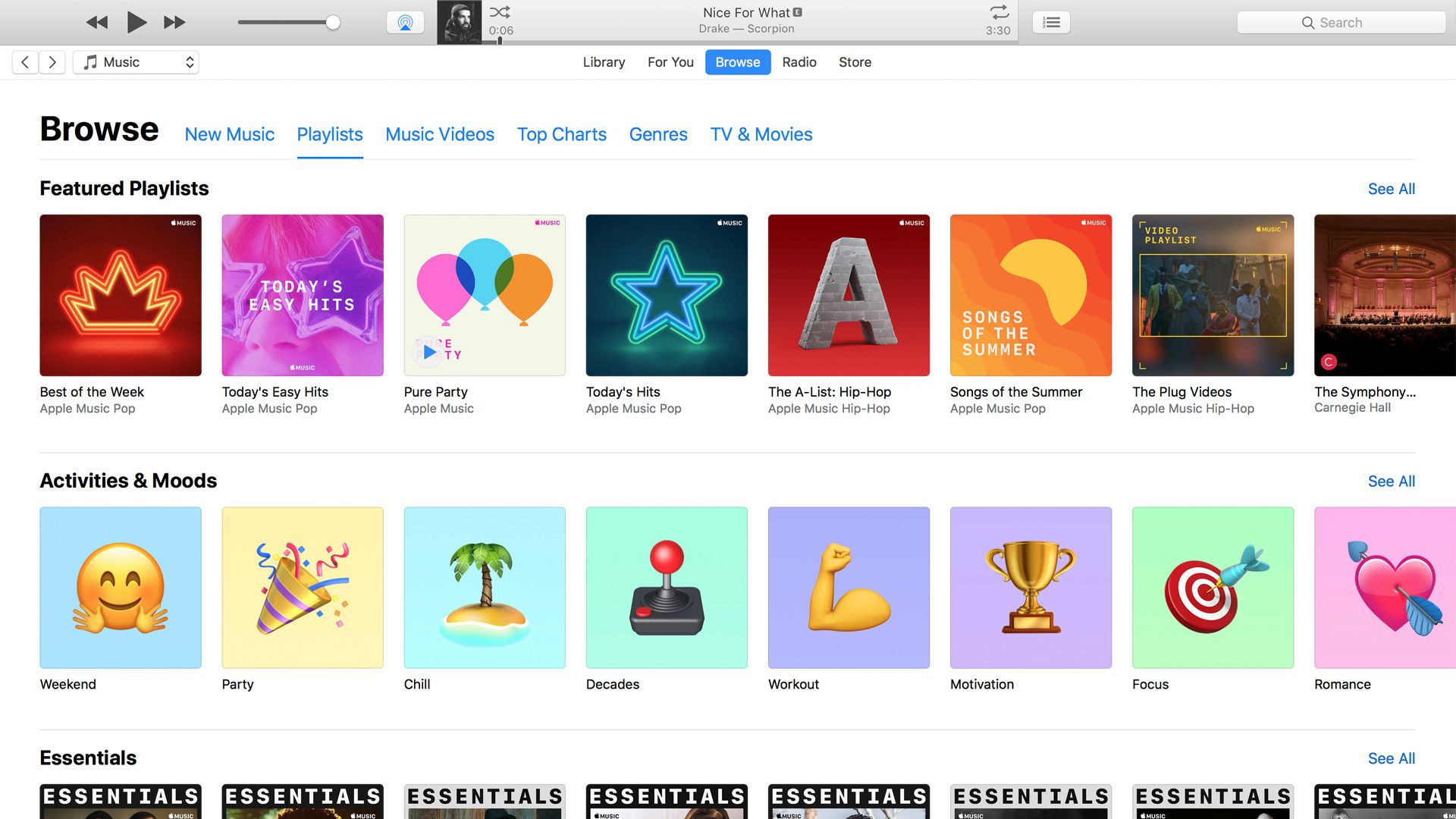 Available playlists' selection from Apple Music. There are much less options to choose from.