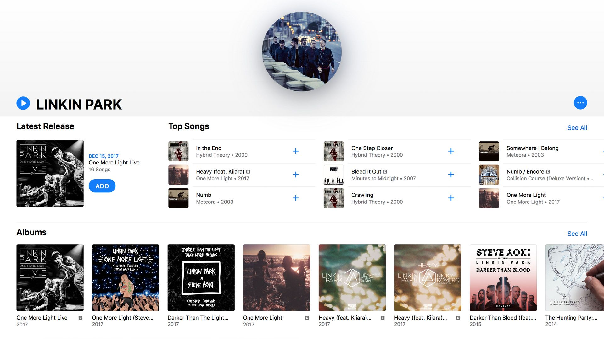 Artist's page in Apple Music.