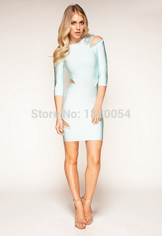Three Quarters Solid  Color Hole Diamonds Around Decorations  H651 Celebrities' Favourite Sheath Bandage Dress