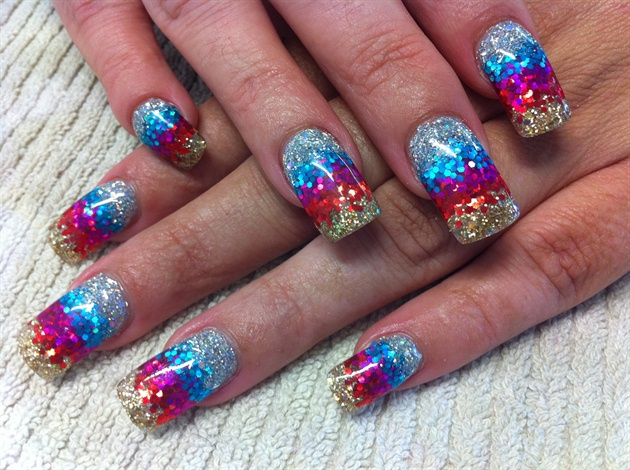 Glitter acrylic nails gallery