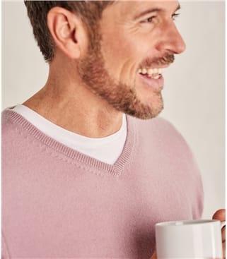 Mens pink cashmere v neck sweater