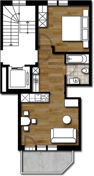 Grundriss 2-Zimmer-Dachwohnung