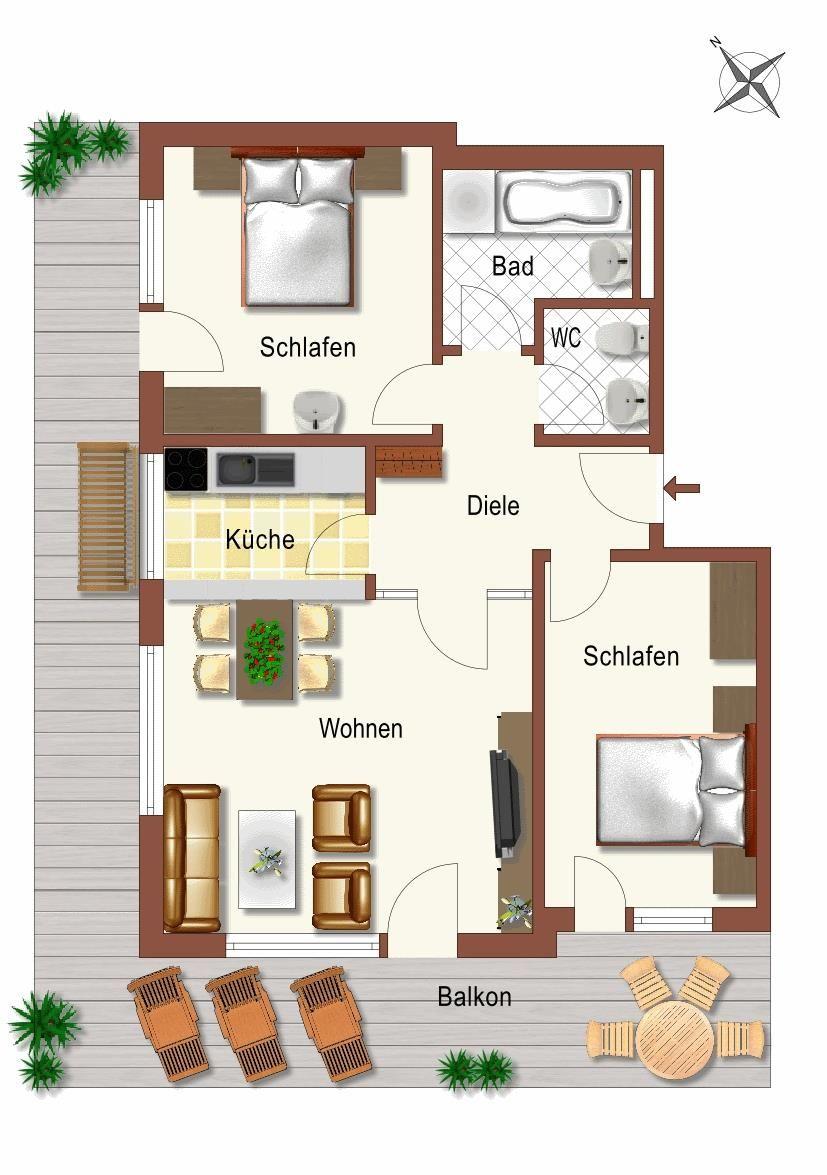 Grundriss 3-Zimmerwohnung