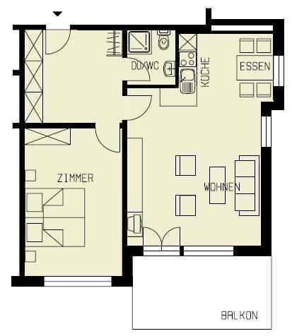 Grundriss 2 Zimmer
