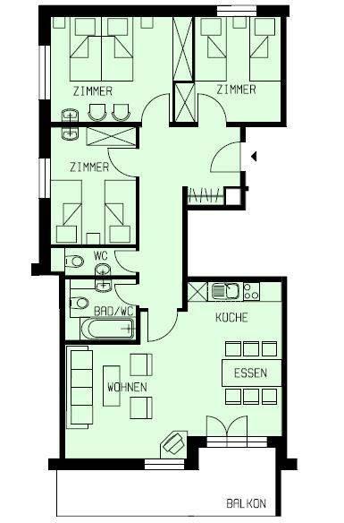 Grundriss 4 Zimmer