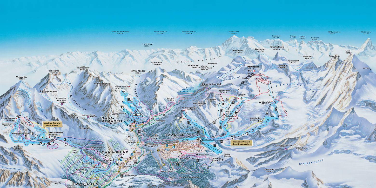 Piste map Saas-Fee/Saas Valley