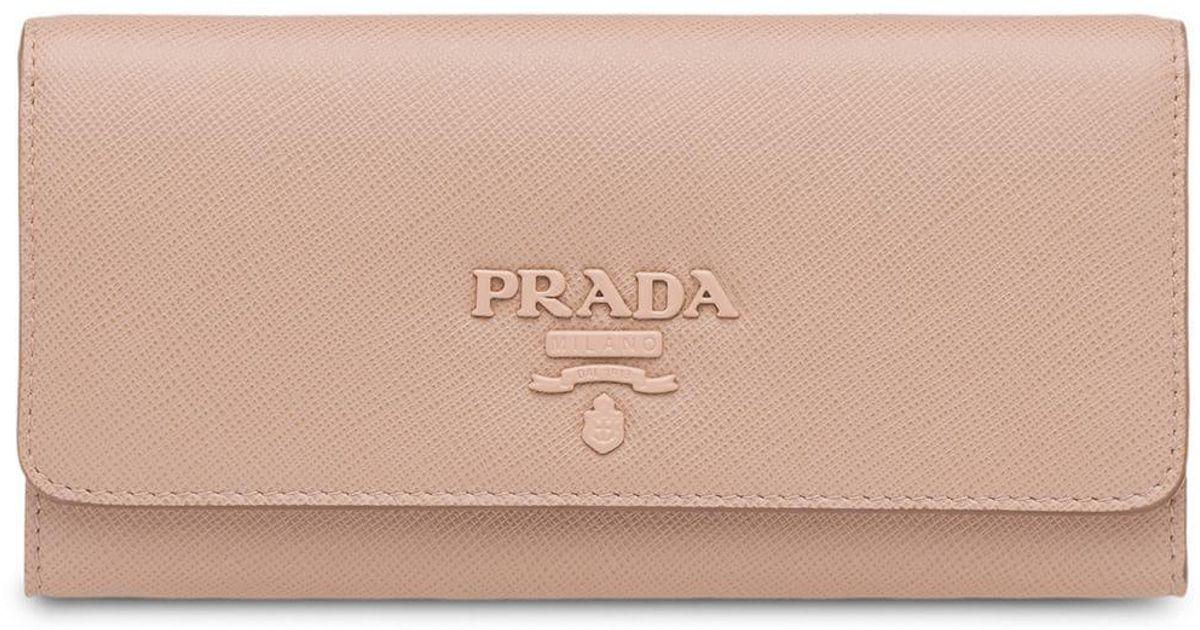 Prada saffiano leather wallet pink