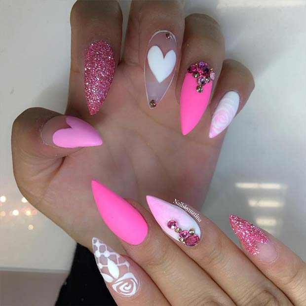 Gorgeous white and pink nails