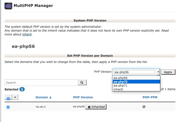 scelta versione php 7