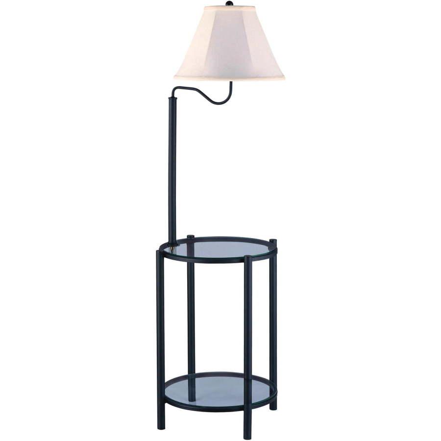 Glass End Table With Lamp: Glass End Table With Built in Floor Lamp Table Lamp Combination,Lighting