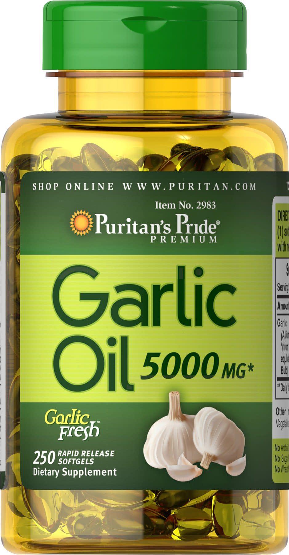 Puritans Pride Garlic Oil 5000 mg-250 Rapid Release Softgels
