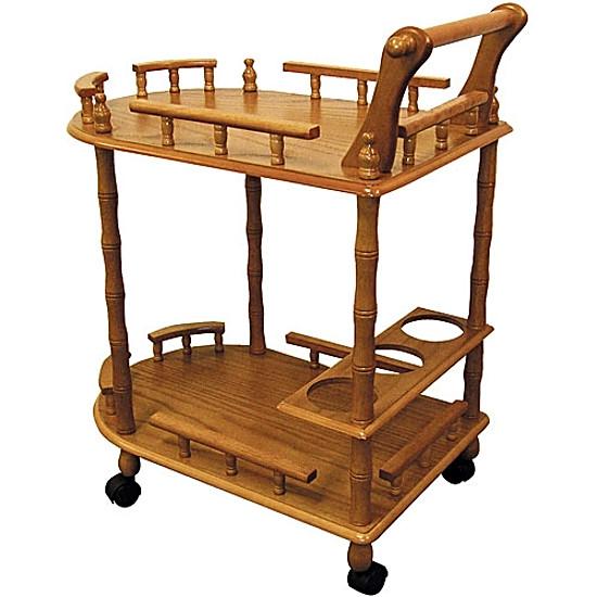 Oak Rolling Cart ~ Rolling wine serving cart wooden oak tea beverages service