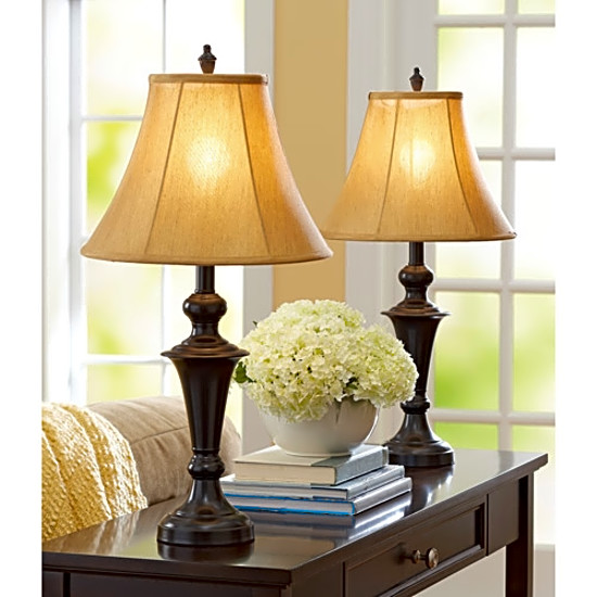 Table Top Lamps 2 Pc Set Vintage Desk Living Room Warm Shade Retro Pair Lights