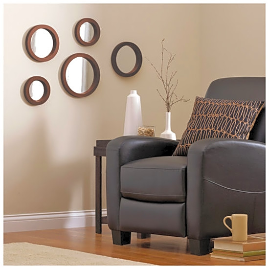 Wall Mount Decor mainstays 5 piece modern mirror set circle round wall mount decor