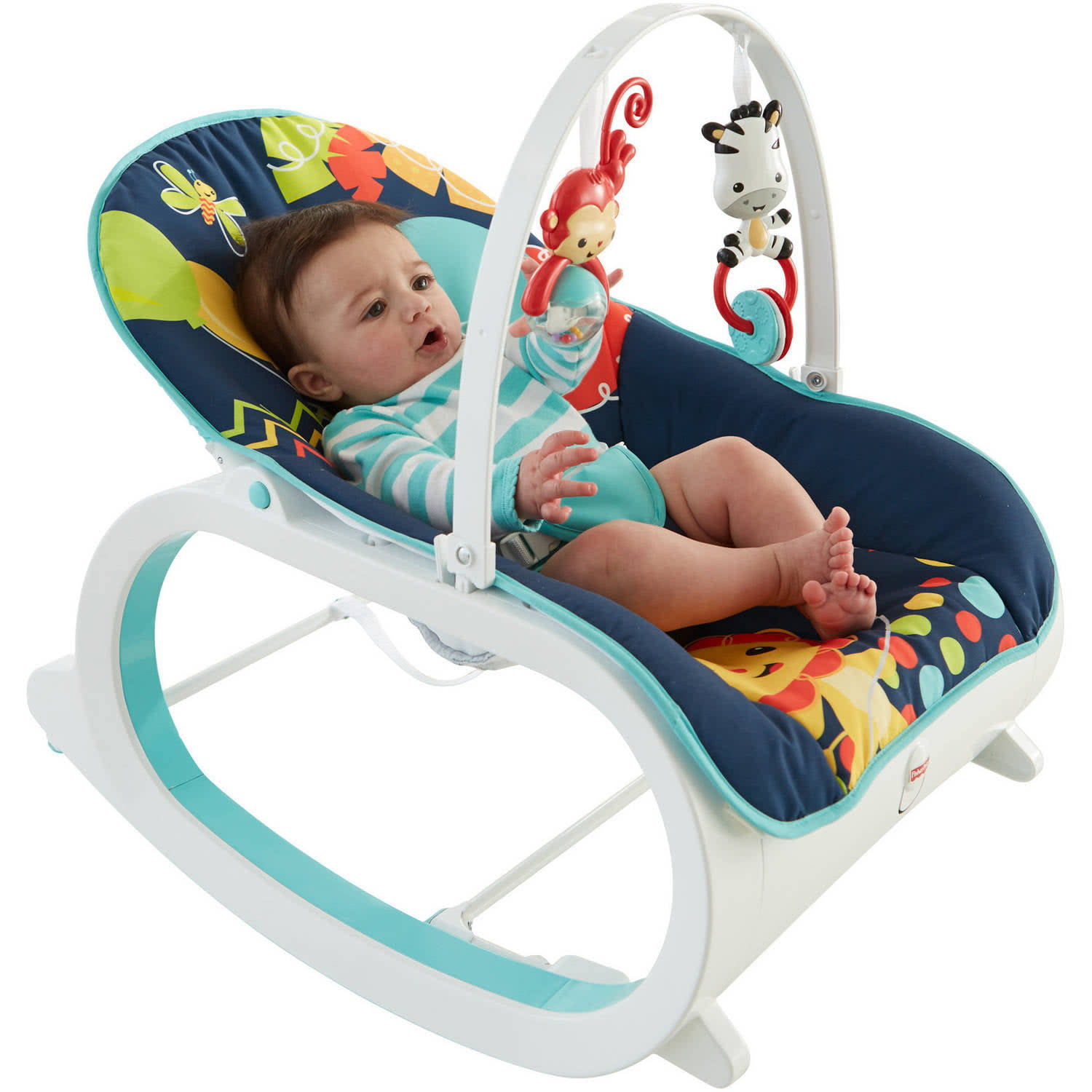 Baby rocker chair fisher price - Fisher Price Infant To Baby Seat Bouncer Toddler Rocker Chair Sleeper Toy Blue