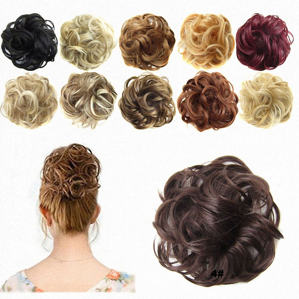 Feshfen hair extensions wavy curly messy hair bun - Chignon original ...