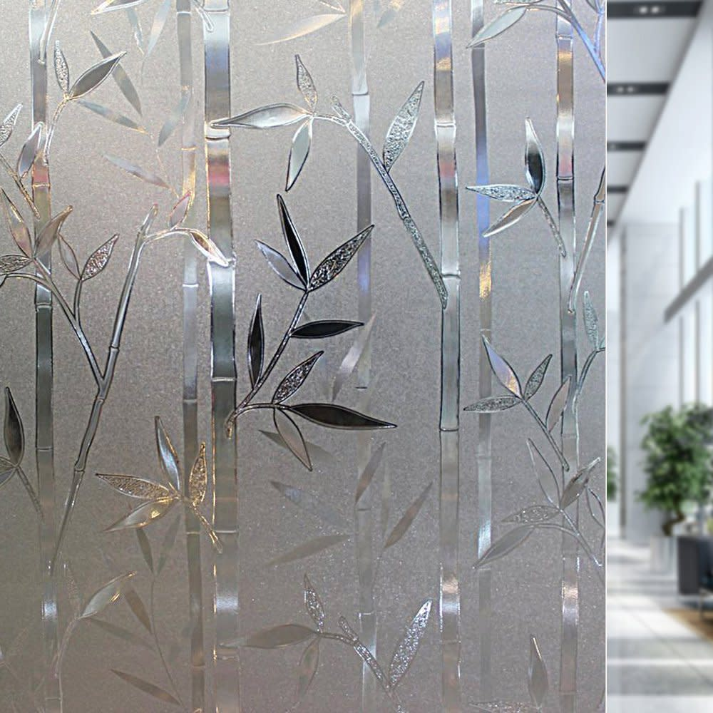 rabbitgoo 3d no glue static cling film privacy glass bamboo frosted window films - Frosted Window Film