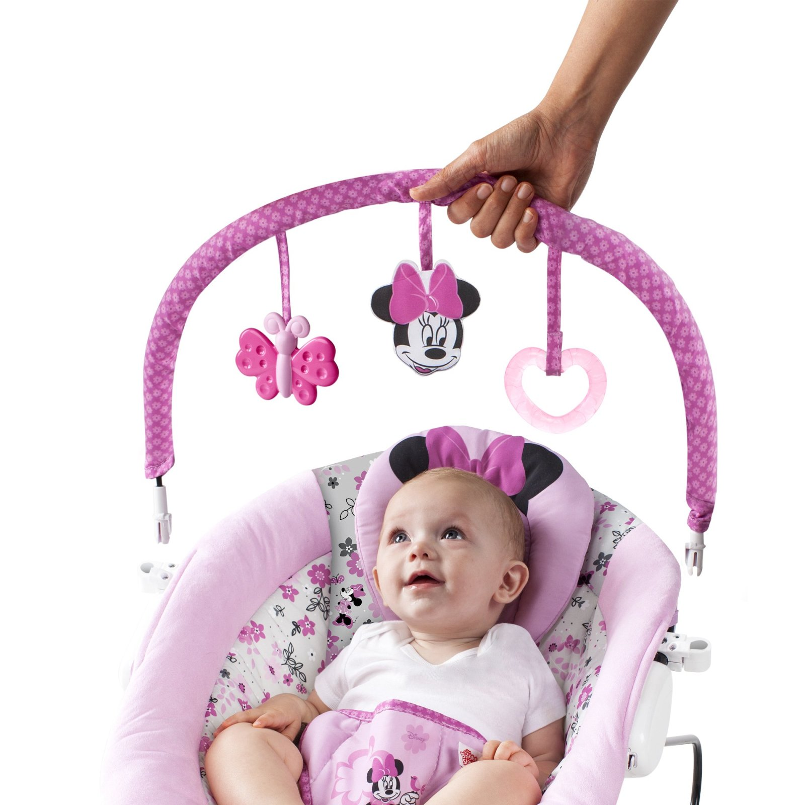 Baby girl vibrating chair - Disney Baby Minnie Mouse Garden Delights Bouncer Girl Pink Basket Seat Swing Bouncy Infant Chair Fast Free Shipping