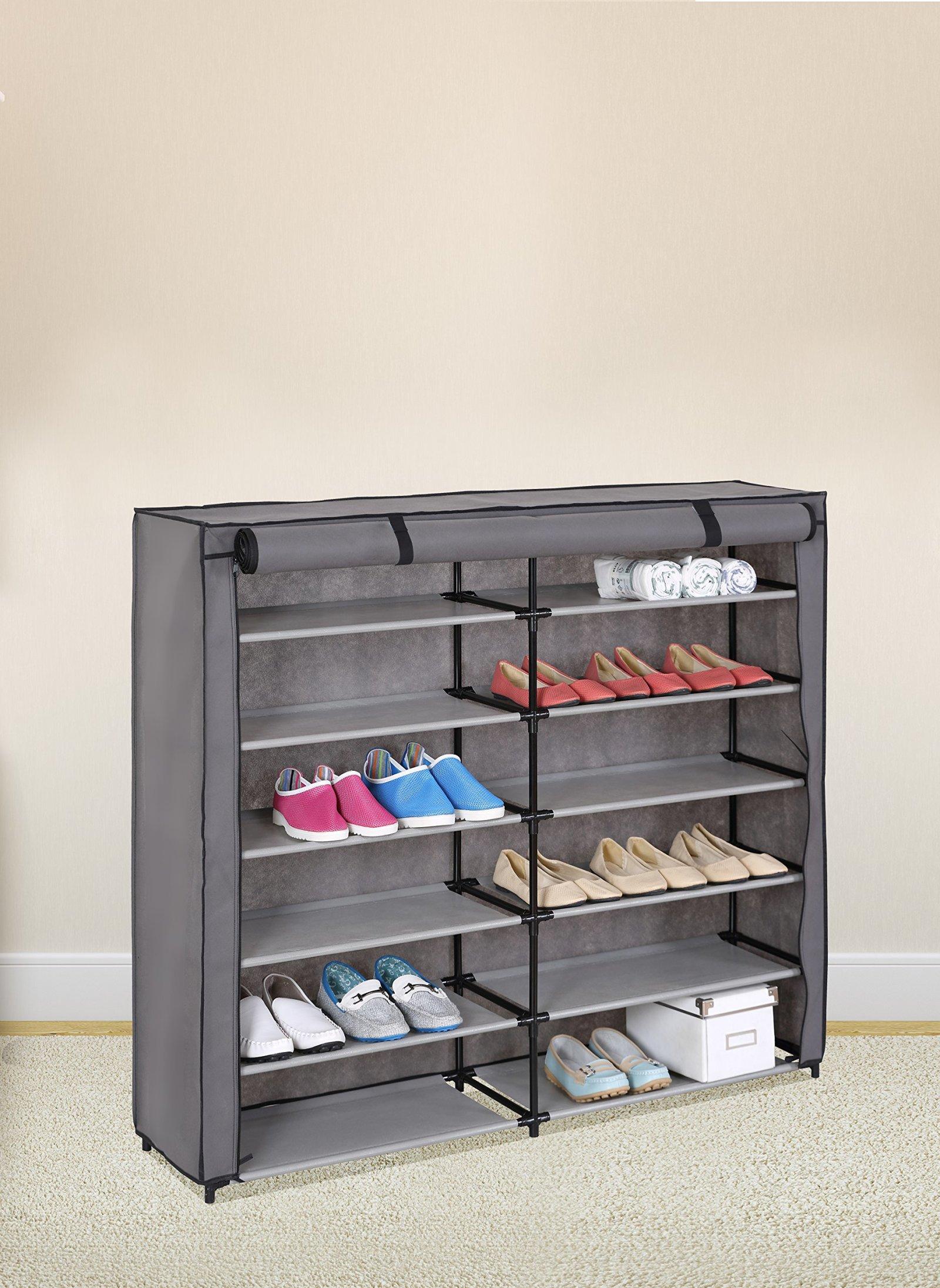 7 Tier Shoe Rack 42 Pair Portable Shoe Storage Cabinet Organizer Shelf U0026  Cover Part 41
