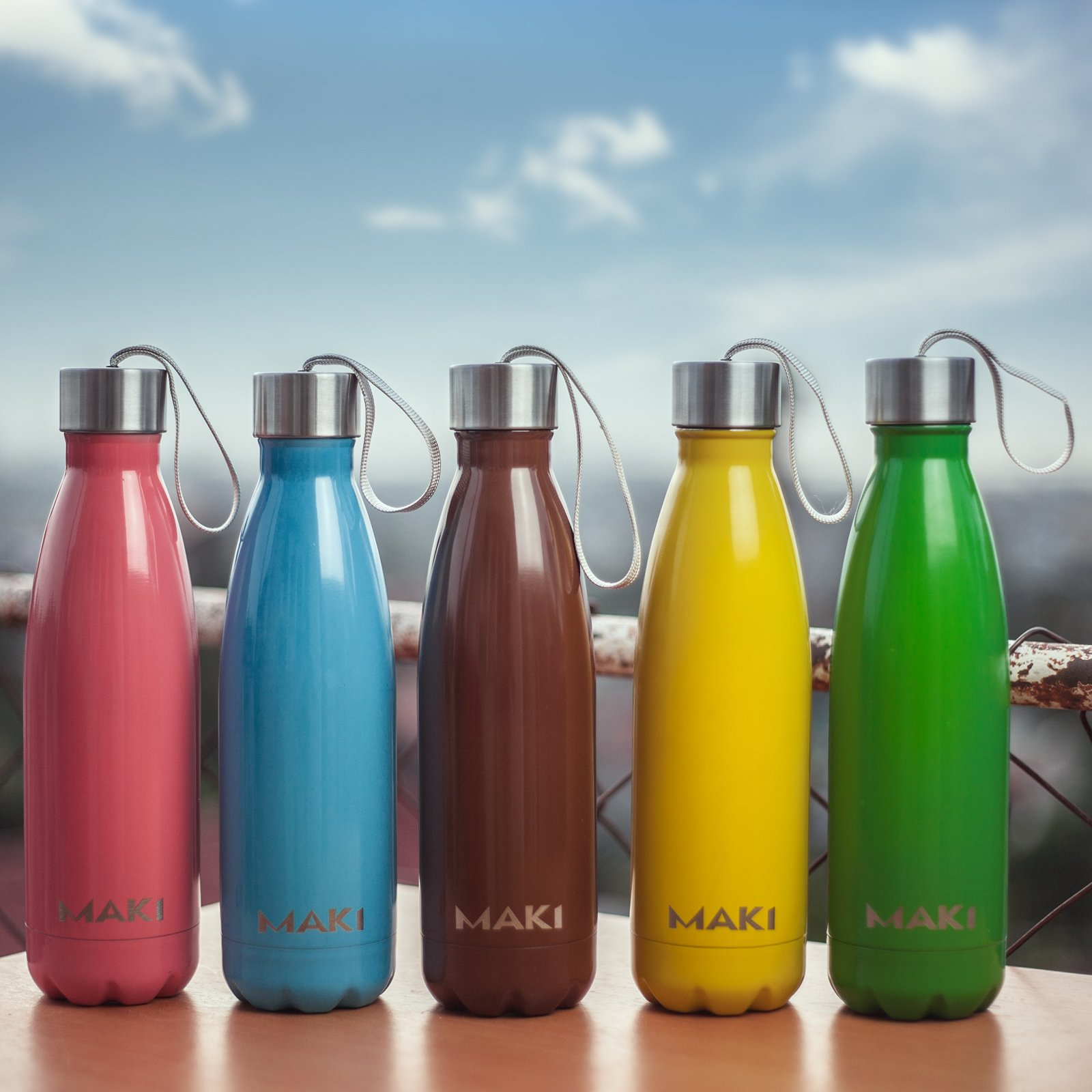 Water Bottle With Strap: MAKI Vacuum Insulated Stainless Steel Water Bottle