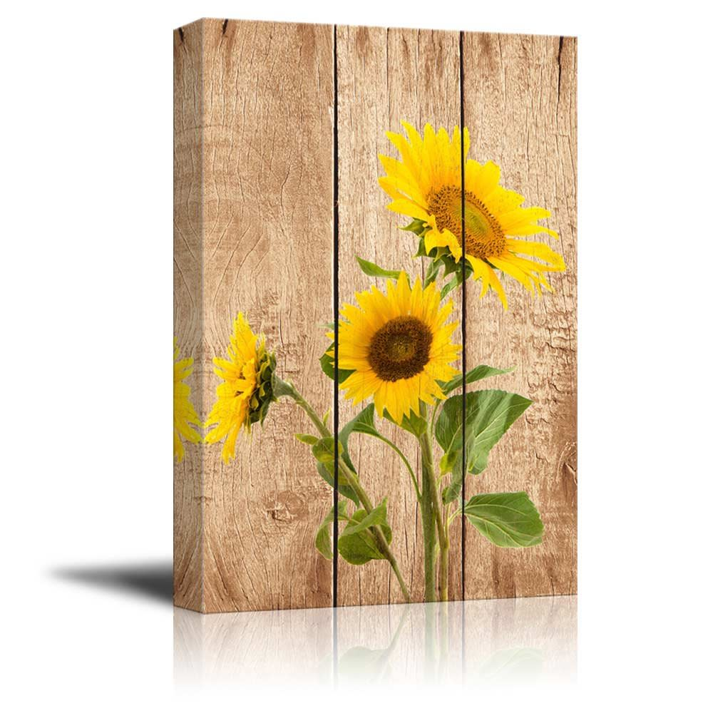Home Wall Art Decor Sunflowers Over Wood Panel Canvas Prints Stretched  Frame Bar - Home Wall Art Decor Sunflowers Over Wood Panel Canvas Prints