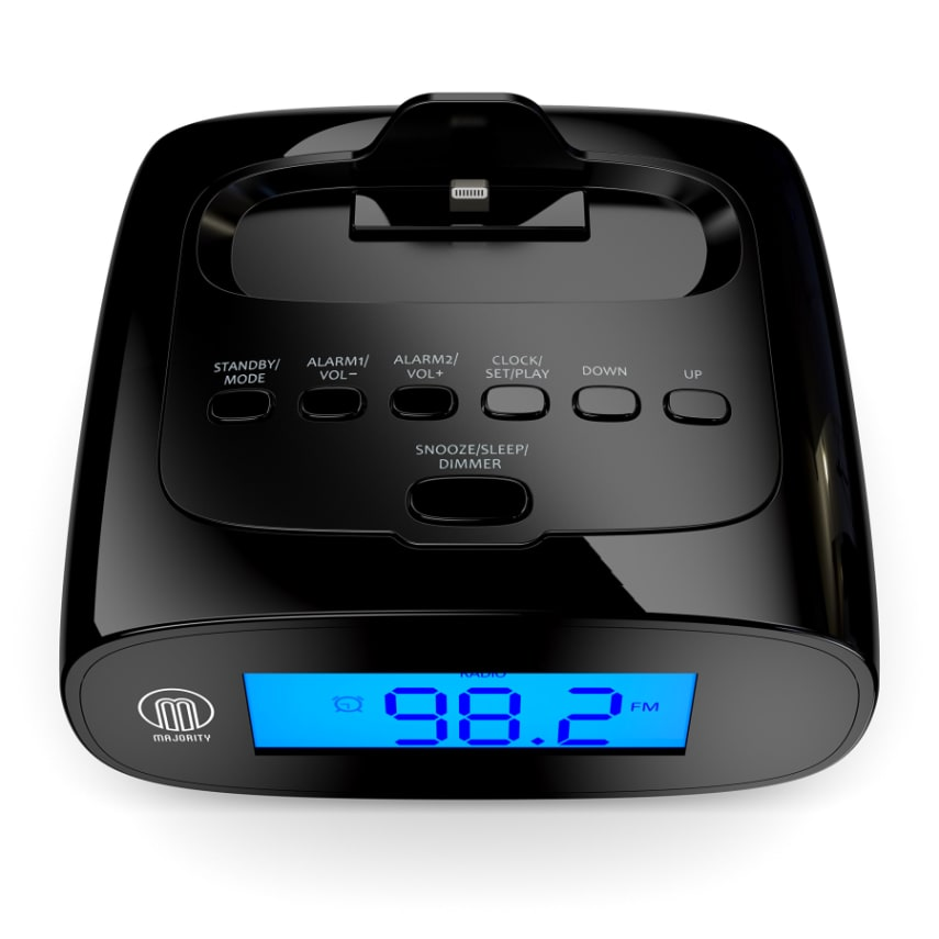 mars speaker docking station alarm clock fm radio lightning dock for iphone 5 5s ebay. Black Bedroom Furniture Sets. Home Design Ideas