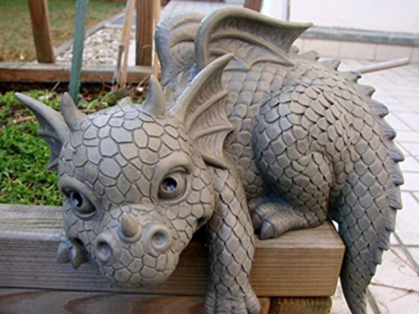 garden ornament shelf sitting figurine left facing dragon. Black Bedroom Furniture Sets. Home Design Ideas