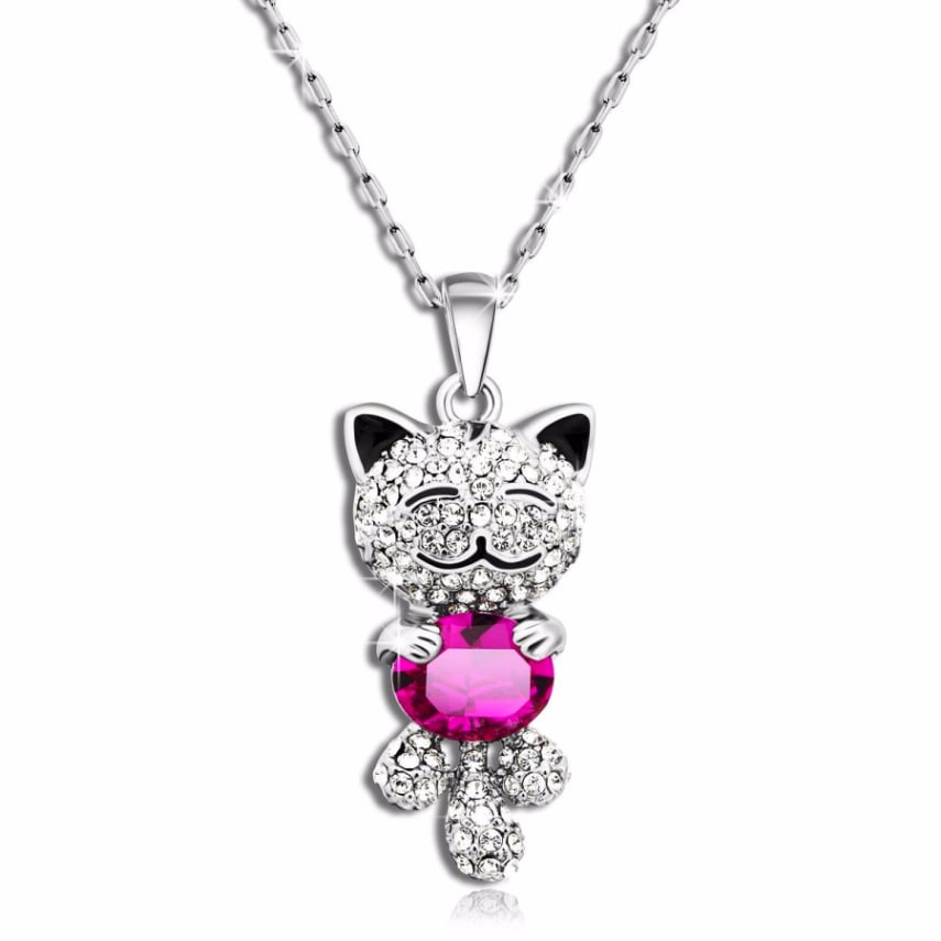 Valentine gift good luck Swarovski lucky Cat Pendant silver Necklace jewelry