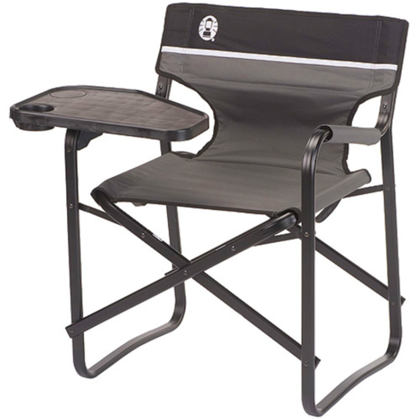 genuine coleman steel deck chair with swivel table folding heavy duty camping - Heavy Duty Folding Chairs