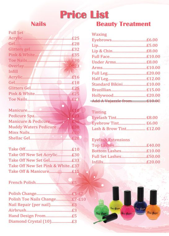 Gel nails price list uk