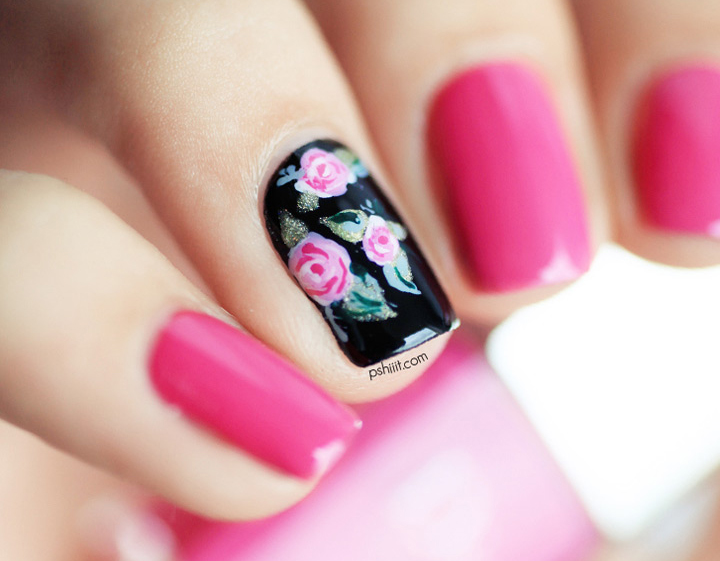 Hot pink nails for prom