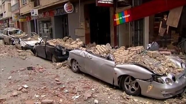 earthquake brick damage to cars